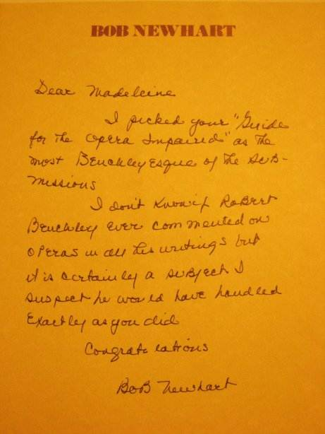 Bob Newhart Letter